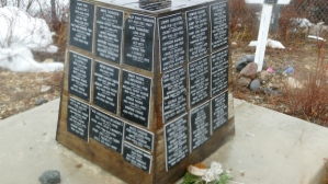 A monument at a cemetery in Churchill, Manitoba with the names on it of the many indigenous people who died after a forced move from their homes by the Canadian government in 1956.