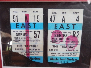 Linda McKellar still has her tickets from not one, but two Beatle shows on August 17th, 1966 in Toronto. Notice the price on the tickets. The last time Paul McCartney performed in nearby Buffalo, New York, most tickets sold for well over $100.