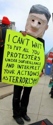 Protesting Harper's draconian anti-terrorist bill in the months leading up to last year's federal election