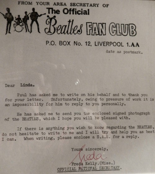 A response from The Beatles' Liverpool headquarters to a fan letter Linda sent their way back then.