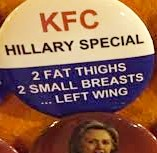 Hillary buttons for sale outside Donald Trump campaign rallies