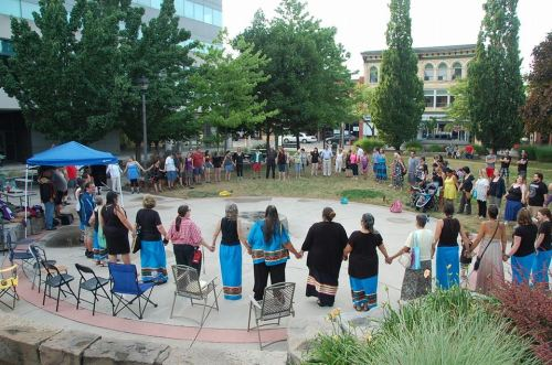 A rally that members of Niagara's indigenous community hosted in front of Niagara Falls City Hall this July. File photo by Doug Draper
