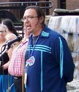 Karl Dockstader speaking at a recent rally organized by indigenous people to save Thundering Waters Forest in Niagara Falls, Ontario