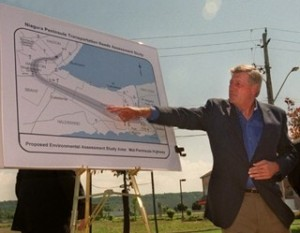 Then Ontario Tory premier Mike Harris stumping for mid-pen highway way back 15 years ago.