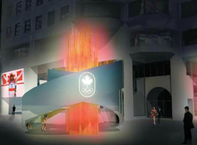 An artist's rendering of the stylized LED-light Olympic flame that will 'burn' outside the Canadian Olympic Committee offices at Olympic House in Montreal.