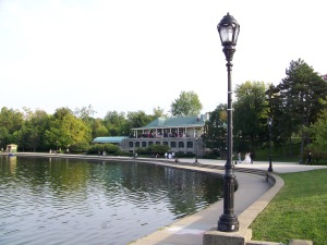 Hoyt Lake off Scajaquada Creek with Marcy Casino (the historic old boathouse and restaurant) in Buffalo, New York's Delaware Park. Photo by Doug Draper