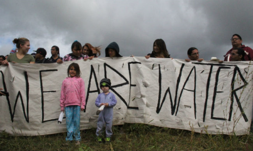 A rally by young members of the Standing Rock Reservation earlier this August against pipeline