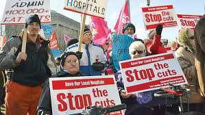 One of many citizen demonstrations held across Ontario in recent years in opposition to health care cuts