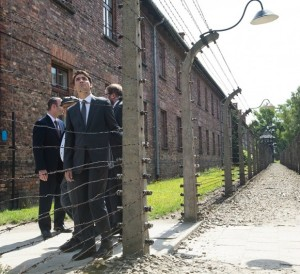Canada's Prime Mnister Justin Trudeau during a recent visit to the notorious Auschwitz death damp in Poland