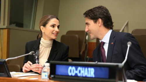 "Prime Minister Trudeau co-chairs a roundtable on ""International Action and Cooperation on Refugees and Migrants: The Way Ahead"" with Her Majesty Queen Rania Al Abdullah - Photo from Prime Minister's Office"