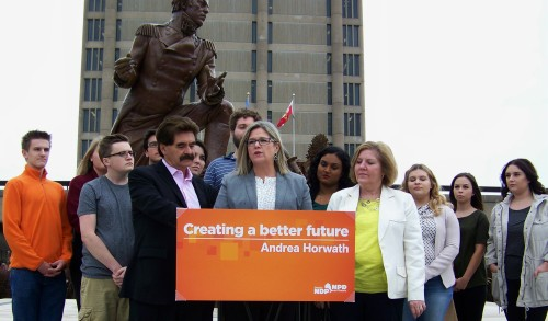 Ontario NDP Leader Andrea Horwth,, flanked by Niagara representatives Wayne Gates and Cindy Forster, and a gathering of Brock University students, announces pledge to eliminate interest from student loans if her party wins 2018 provincial election.