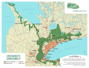 "The Greenbelt protecton zone (identified in green on this map) in Ontario has received international applause as a major step for saving farmland, but many developers hate it and so do groups representing farmers in the Niagara, Ontario region. Some have called it a ""nightmare"" and want it scrapped."