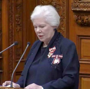 Elizabeth Dowdeswell, Ontario's Lieutenant Governor, doing her thing for the Queen. And please try not to snore while she's doing it.