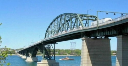 The Peace Bridge crossing the upper Niagara River between Fort Erie/Niagara, Ontario and Buffalo, New York