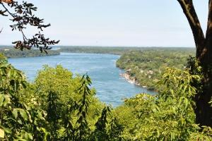 A view of the lower Niagara River, showing U.S. side on the right, from Queenston, Heights on the Canadian side in Niagara, where a memorial to Native peoples will be unveiled this coming October 2016