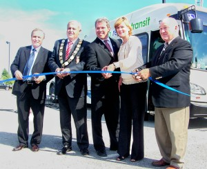 "Since Niagara's inter-municipal bus system was launched as a starter ""pilot"" project five years ago, not much has evolved except for the fares. They have gone up. Niagara Region's former public works commissioner Ken Brothers,former Niagara Regional chair Gary Burroughs, former Port Colborne mayor Vance Badawey, former Grimsby regional councillor Debbie Zimmerman and St. Catharines regional councillor Tim Rigby do the ribbon cutting for inter-municipal bus launch in September, 2011."