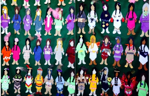 Two panels of faceless dolls in honour of murdered and missing women