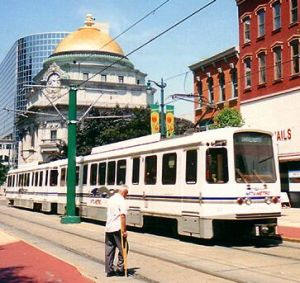 Light rail gliding through heart of downtown Buffalo, New York