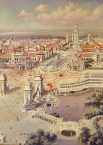 "Painting for TBHM Collection: Birds-eye View, Pan American Exposition"" by H.H. Green]"