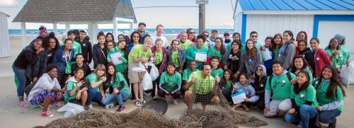 Some of the many Adopt-A-Beach volunteers working with the Alliance for the Great Lakes