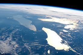 Lakes Ontario (in lower right foreground), Erie and Huron from space.