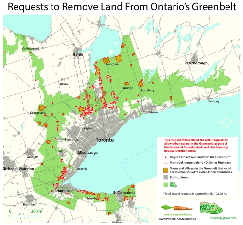 Red dots on this map in Niagara Region and other areas of southern Ontario identify areas developers and others are asking provincial government to remove from protected Greenbelt.