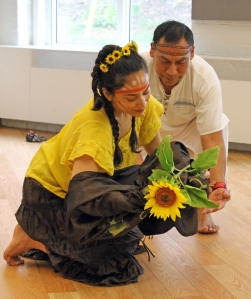Brock University graduate student Heryka Miranda and research partner Juan Luis Mendoza de la Cruz rehearse their performance of The Sunflower Man.