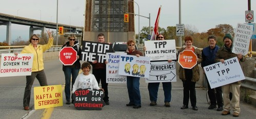 One of many rallies over past year - this one in Niagara, Ontario - against a TPP trade deal many fear will kill more good jobs and ravage health care and other public services
