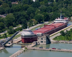 A Great Lakes freighter making it s way through the locks of the Welland Canada in Niagara, Ontario