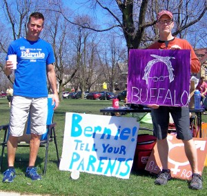 Bernie Sanders supporters rallying in Buffalo, before the New York State primary this past April. Many Sanders supporters were told they were not properly registered to vote.