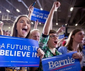 Some of the millions of young people who became engaged in politics through the Bernie Sanders campaign