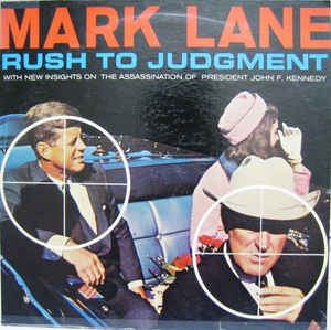 An iimage from investigative lawyer Mark Lane's 1966 book 'Rush to Judgement', with then Texas Governor John Connally in the sights of a rifle (not Oswald's) in the front of the car, and President Kennedy in the rifle sights in the back seat, with his wife and First Lady Jackie Kennedy at his side.