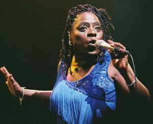 Soul singer Sharon Jones belting out a tune