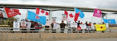 One of the many past rallies against TPP trade deal - this one on a Welland Canal bridge crossing in St. Catharines, Niagara - File photo by Joanne McDonald.