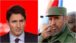Canadian Prime Minister Justin Trudeau, the now late Cuban president/dictator Fidel Castro.