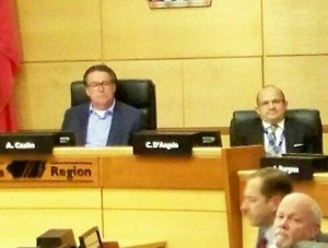 Niagara Regional Chair Al Caslin (left) welcomes new regional CAO to his chair in the council chambers this past fall. File photo by Doug Draper