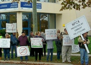 Niagara residents rally in front of NPCA headquarters r in support of recent call by Welland MPP Cindy Forster for a forensic audit of the body. File photo by Doug Draper