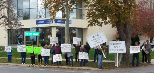 Earlier this month, a group of Niagara residents protest in front of NPCA offices in Welland. They were demanding a forensic audit of NPCA's operations. File photo by Doug Draper