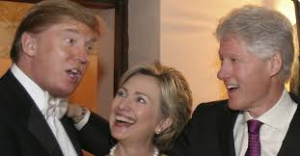 """Donald Trump and the Clintons have wined and dined before. """"throw her in jail' or not, they swim in the same elite circles."""
