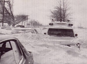 This ambulance and the cars around them were not going anywhere - a typical scene on the highways and streets of Niagara and Western New York during the storm