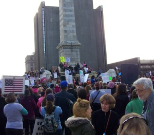 Some of the estimated 3,000 people in Buffalo, New York who joined hundreds of people in Niagara, Ontario and some three million around the world in supporting a massive Women's March on Washington, D.D.'s in the wake of Trump's inauguration. Photo by Doug Draper