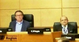 Former NPCA CAO (now Niagara Region CAO) Carmen D'Angelo, sitting to right of Niagara Region's chair Al Caslin in this recent photo, has joined the NPCA in launching a lawsuit against Niagara citizen Ed Smith, who has been pressing for a forensic audit of the NPCA's operations.