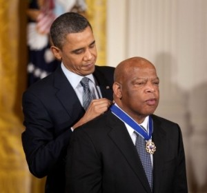 U.S. President Barack Obama awards civil rights hero and Congressman John Lewis the 'Medal of Freedom' in 2011