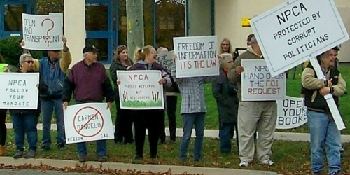 Citizens staged a protest rally in front of NPCA offices late last year. File photo by Doug Draper