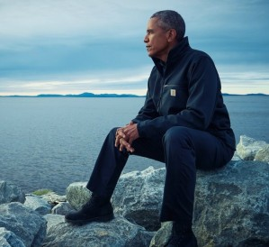 A great photo of Barack Obama, published last year in Rolling Stone magazine, taken while he was still U.S. president and up in the Arctic, talking about the need to take urgent action on climate change
