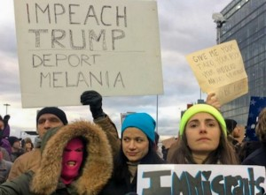Americans protest Trump immigration ban at JFK Airport in New York City.