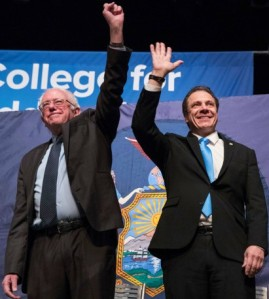 Bernie Sanders joins New York State Governor Andrew Cuomo in announcing plan for tuition-free college and university
