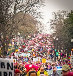 Hundreds of thousands of people from across the U.S.A., joined by some from Canada and elsewhere, pour through the streets of Washington. D.C this January 21st to let the new Trump administration know they won't let it go backwards on women's right, rights for other groups and on climate change and other hard-fought social justice wars.