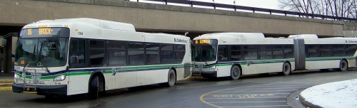 Buses connecting with St. Catharines, Welland and other Niagara municipalities at Brock University