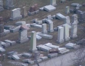 A horrid act of destruction in a Jewish cemetery in Missouri, committed this February.
